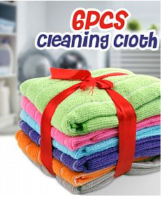 Soft Material Highly Absorbent Multi-purpose 6Pcs Cleaning Cloth, Assorted Colors | 24HOURS.PK