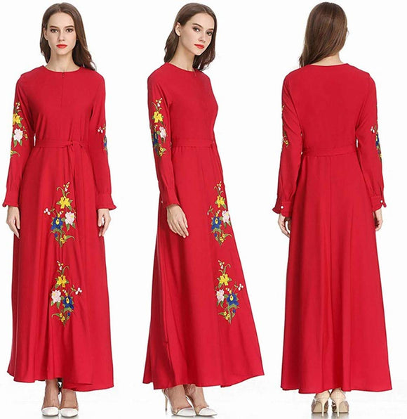 Muslim Printed Dress Abaya with Hijab Jilbab Islamic Clothing Maxi Muslim Dress Red | 24HOURS.PK
