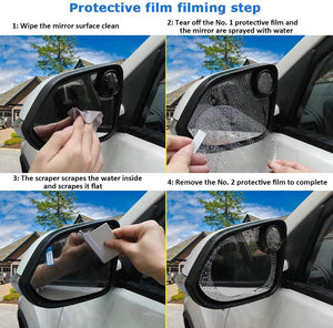Pack of 2 Oval Car Rearview Mirror Protective Film 2 Units HD Fog Rain Resistant Anti-Glare Screen Protector | 24hours.pk