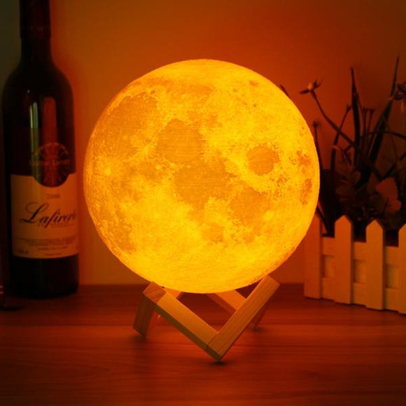 Random Effect Color 3D moon lamp Chargable - 18 cm | 24hours.pk