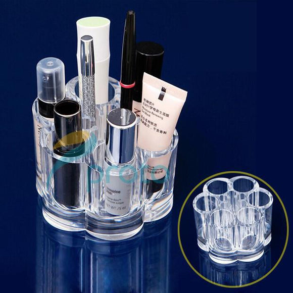 Clear Acrylic Makeup Organizer Lipstick Storage Box Crystal Nail Polish Display Case 6 Compartments Makeup Tools Stand Rack | 24hours.pk