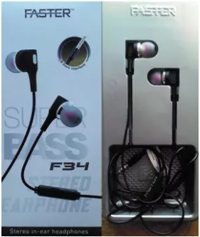Faster F - 34 Super BASS Stereo EarPhone With Built In MicroPhone