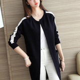 Winter Western Stripe Style Long Coat For Women Black | 24HOURS.PK