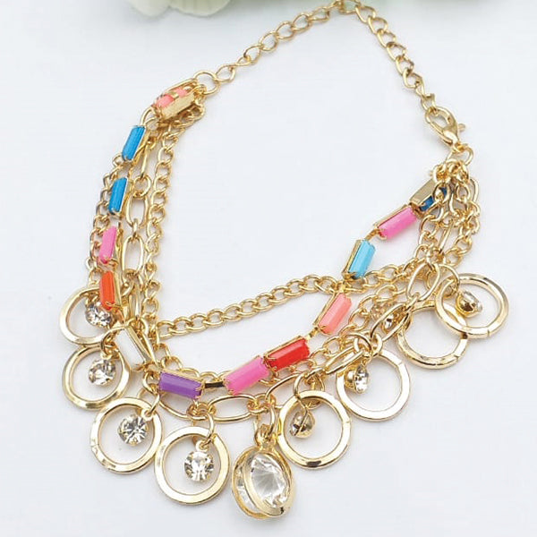 Colorful Stone Style Chains Gold Bracelet For Girls And Women | 24hours.pk