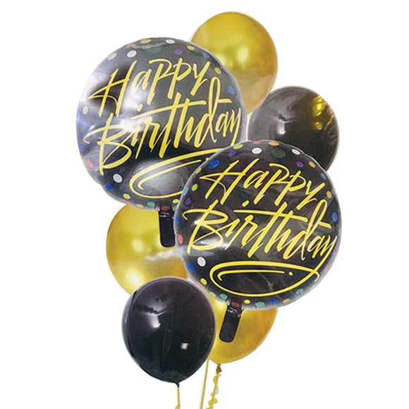 Pack of 7 foil balloon sets golden and black | 24hours.pk