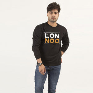 London Black New Printed Fleece Winter Sweatshirt | 24HOURS.PK