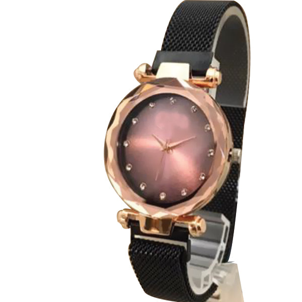 Magnet Chain Elegant Women Wrist Watch Black Belt With Golden Dial | 24hours.pk