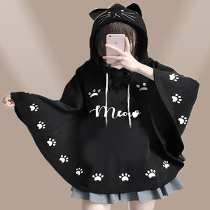 Lollypop Meow Meow Poncho Style Hoodie for Ladies | 24hours.pk