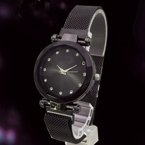 Magnet Chain Elegant Women Wrist Watch Black | 24hours.pk