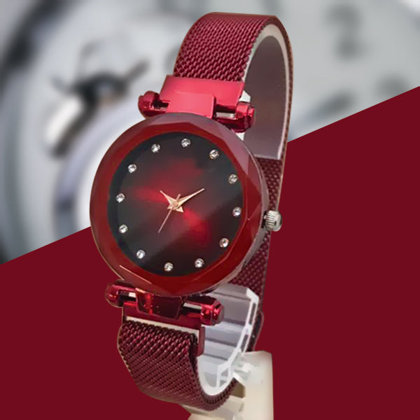 Magnet Chain Elegant Women Wrist Watch Red | 24hours.pk