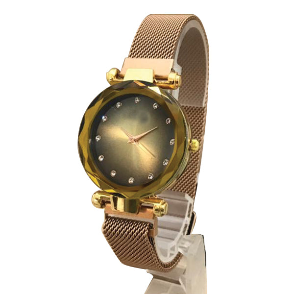 Magnet Chain Elegant Women Wrist Watch Golden and Yellow | 24hours.pk