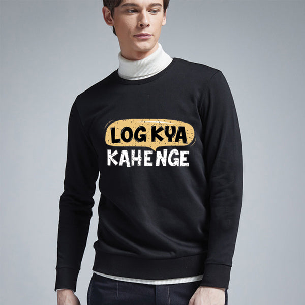 Log Kya Kahenge Printed Winter Sweatshirt Black For Unisex | 24HOURS.PK