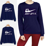 Just Lift It printed Winter Sweatshirt Blue | 24HOURS.PK