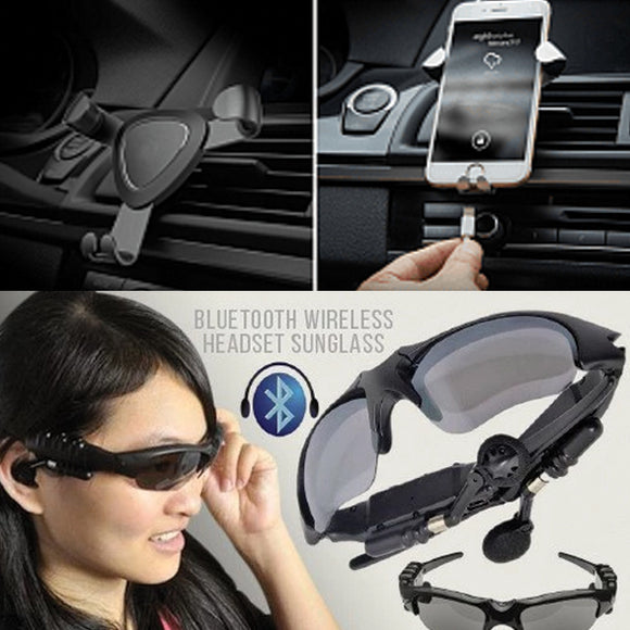 Pack of 2 Sunglasses Bluetooth Wireless Headsets and Universal Gravity Metal Air Vent Car Mount Mobile Holder | 24HOURS.PK