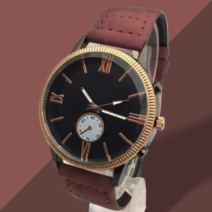 New Roman Watches For Mens Cost Black Dial and Mehroon Belt | 24HOURS.PK
