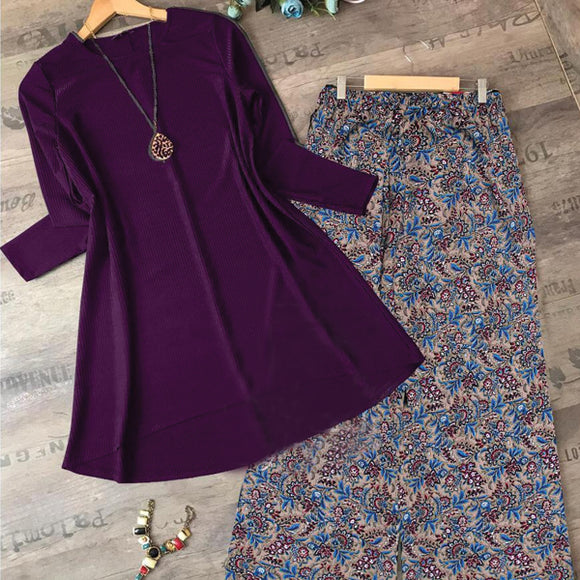 2 Pcs Plain Shirt Printed Trouser For Women - Purple | 24HOURS.PK