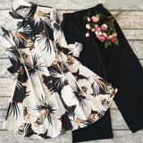 Flower Design 2 Pcs Plain Shirt Printed Trouser For Women | 24HOURS.PK