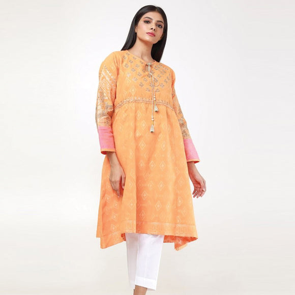New Latest Embroidered Kurti Orange For Women | 24HOURS.PK