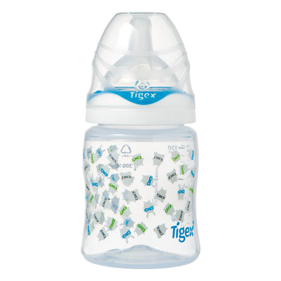 Tigex Bottle Intuition Wide Neck Silicone 150 Ml (0-6 Months) Blue | 24HOURS.PK