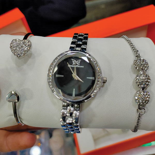 Pack Of 3 Ladies Hand Watch Set Bracelet Watch Simple Design Black Dial With Chain 24hours Pk