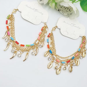 Pack of 2 Colorful Stone Style Chains Gold Bracelets Random Design For Girls And Women | 24hours.pk