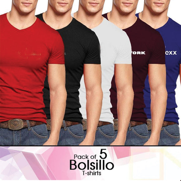 Pack of 5 Printed V-Neck T-Shirts | 24HOURS.PK