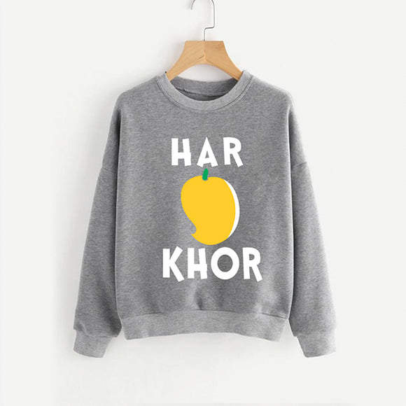 Har Aam Khor Grey new Printed Round Neck Cotton Fleece Winter Sweatshirt for Men | 24HOURS.PK