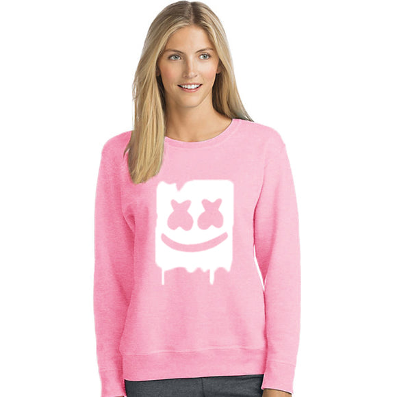 Marshmallow Style 2 Printed Sweatshirt For - Unisex Pink | 24hours.pk