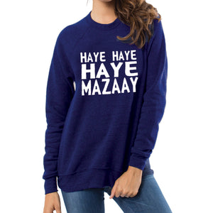 Haye Haye Haye Mazay Printed Winter Sweatshirt Blue For Unisex | 24hours.pk