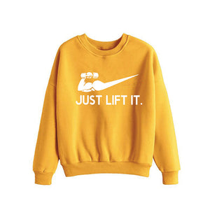 Just Lift It printed Winter Sweatshirt Yellow | 24HOURS.PK