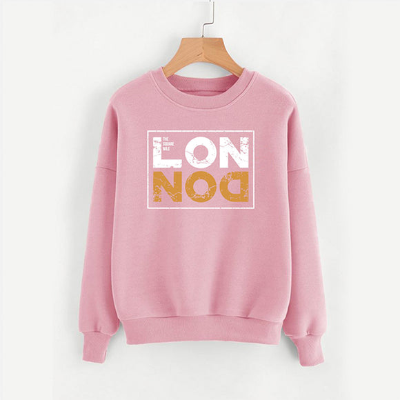 London pink new Printed Fleece Winter Sweatshirt | 24hours.pk