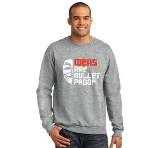 Ideas are Bullet Proof Sweatshirt For Unisex Grey | 24hours.pk