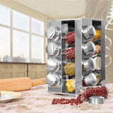 Revolving Tower Spice Jars With Rack - Silver - 16 Pcs (0037) | 24hours.pk