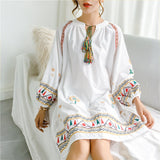 Long Sleeve Cotton Linen Embroidery lace up fringe beach dresse For Women | 24HOURS.PK