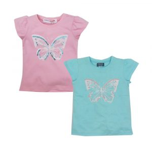 Minoti Embroidered T-Shirt Butterfly Mint