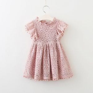Summer Beach Style Kids Lace Dress Pink