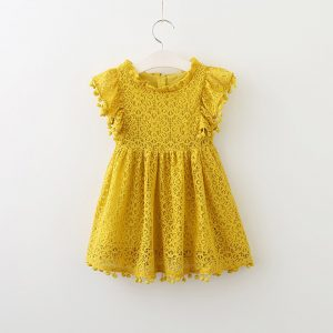 Summer Beach Style Kids Lace Dress Yellow