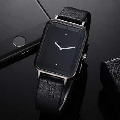 Rectangle Shaped Creative Analog Wrist Watch For Unisex Black & Silver 853354 | Abdul Basit Janjee