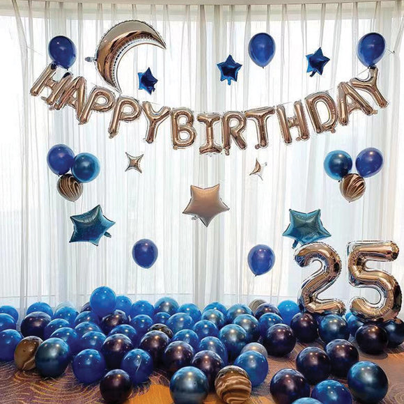 Latest Decorative 64 Pcs Set of Event Foil and Metallic Balloons Random Colors & Designs