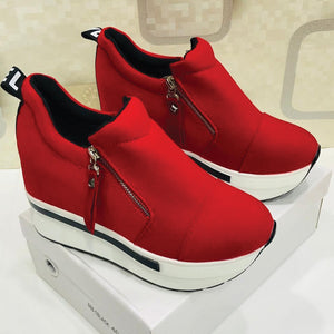 New Arrival Ladies Zipper Sneakers Red & White