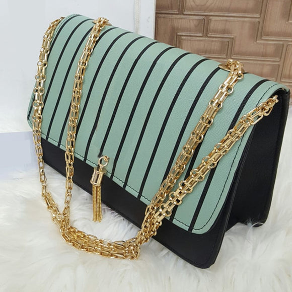 Cross Body Long Chain Black Strips Design Bag For Women's Green 29022