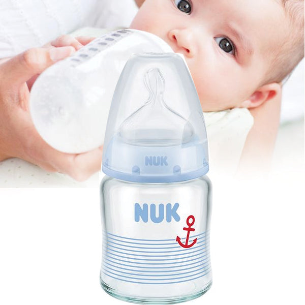 Nuk First Choice Plus Glass Silicone Bottle Feeding Bottle 120 ml 1 Piece Asortile 10747092 | 24hours.pk