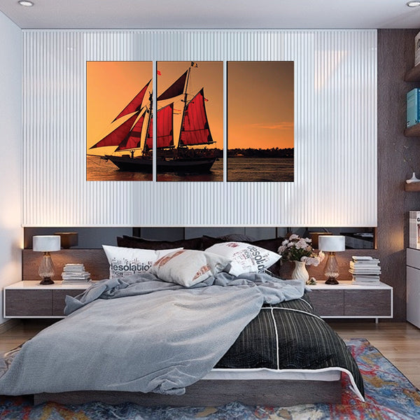 Water Ocean Nature Land Sea Small Red Ship 3d 3Pcs Wall Frame AJ-04