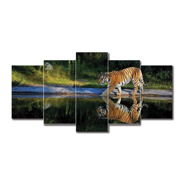 Bengal Tiger Lake 5 Pcs Small 3d Canvas Wall Frame WF050 | Framerstore.com