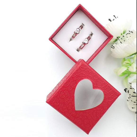 Pack of 2 Single Heart Diamond Design Ring With Heart Design Box For Her Gift or Engagement Silver 0864 | 24hours.pk