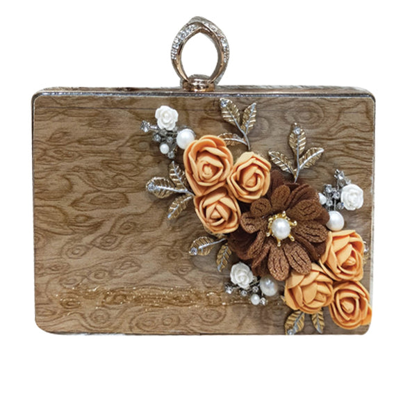 Bridal Fancy Rose Flowers Design Clutch For Women Brown 5815