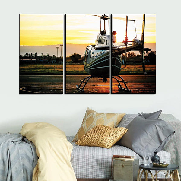 White Helicopter Back Side Flying 3d 3Pcs Wall Frame AJ-014