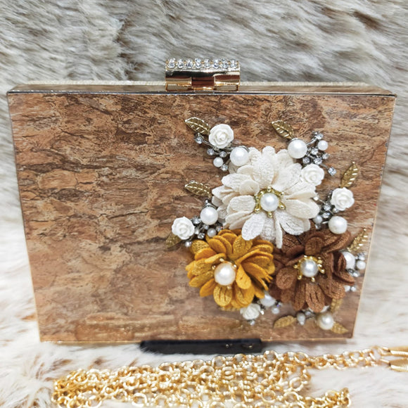 Bridal Fancy Multicolors Flowers Design Clutch For Women Brown 5815