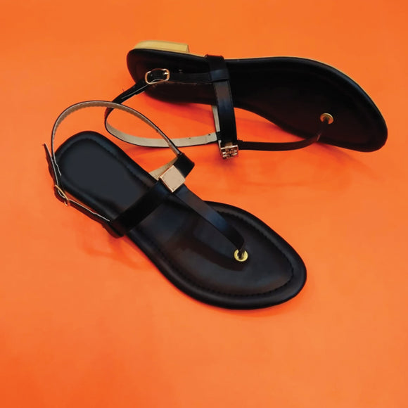Simple Plain Strips Style Black Sandal Pair For Women's 98154