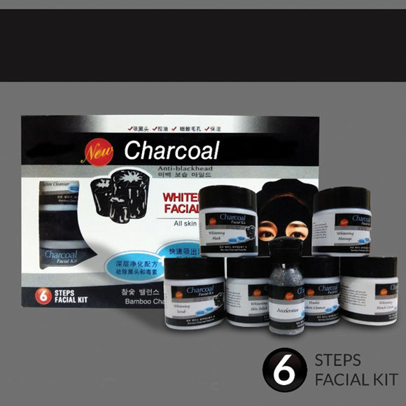 Charcoal Anti Blackhead Whitening Facial Kit 6 Step Facial Kit With Bleach Powder | 24hours.pk